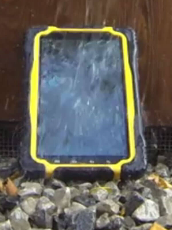 Rugged device undergoing waterproof test