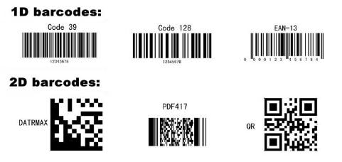 1D and 2D barcode examples