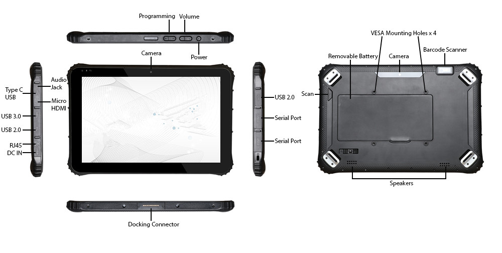 Specification detail of Shatterproof Tablet RuggedT W3H