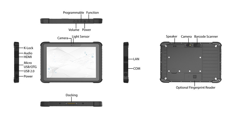 Specification detail of Rugged Tablet W1H